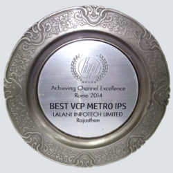BEST VCP METRO IPS award for Lalani Infotech Limited, Rajasthan, 2014
