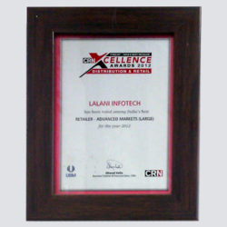 India's Best Retailer Award for Lalani Infotech Ltd from CRN Excellence 2012