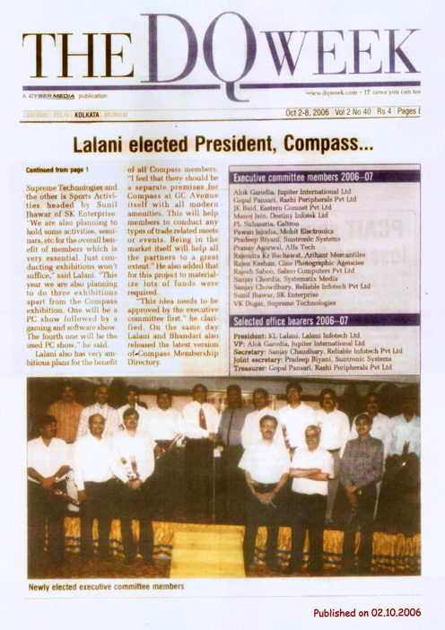 KL Lalani Elected President among the other Executive Committee Members of COMPASS - The DQweek 2006