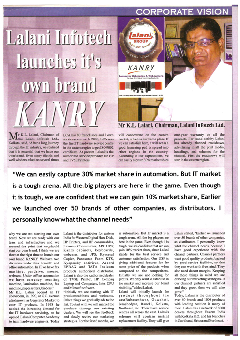 Lalani Infotech Launches it's own IT products brand KANRY