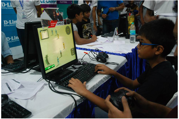 A Child Busy Playing (Cricket 2007) at Game-O-Thon, 2014