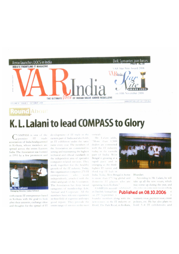 News of Compass featured in VAR India