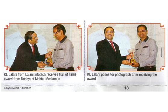 Lalani Infotech receives Hall of Fame award from Dushyant Mehta, Mediaman